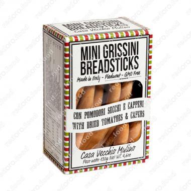 Хлебные палочки мини с сушеными помидорами и каперсами 130 г, Casa Vecchio Mulino