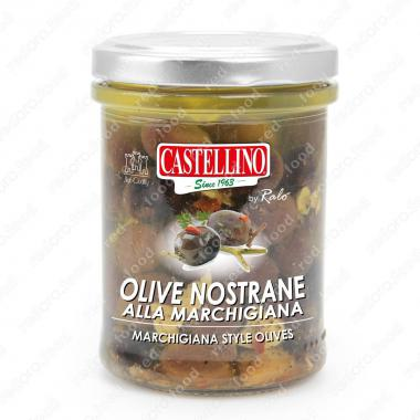 Оливки чёрные Ностране в масле Castellino 180 г