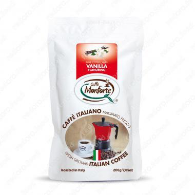 Кофе жареный, молотый «Флауверед ваниль» MonForte 200 г, средне-тёмная обжарка