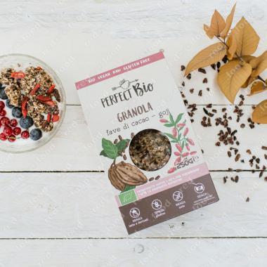 Гранола с какао и ягодами Годжи БИО, Без Глютена, Веган Perfect Bio  250 г