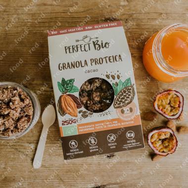 Гранола с какао с высоким содержанием протеина БИО, Без Глютена, Веган Perfect Bio 250 г