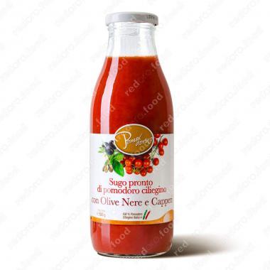 Томатный соус из сицилийских помидоров черри с оливками и каперсами Без Глютена Pomodorino 500 г